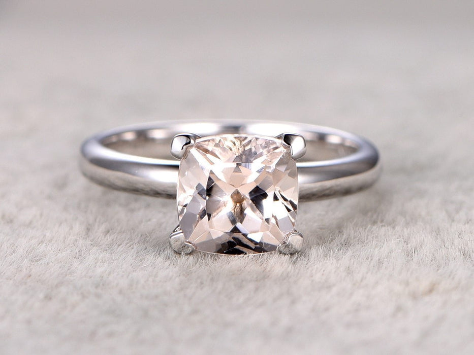 Solitaire 1 Carat Cushion Cut Morganite Engagement Ring in White Gold