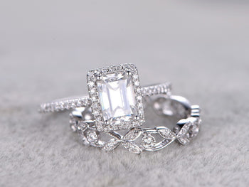 2 Carat Emerald Cut Moissanite and Diamond Halo Wedding Ring Set in White Gold