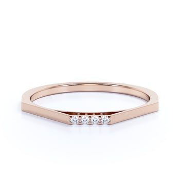 Minimalist 4 Stone Pavé Set Round Diamonds Stackable Wedding Ring in Rose Gold