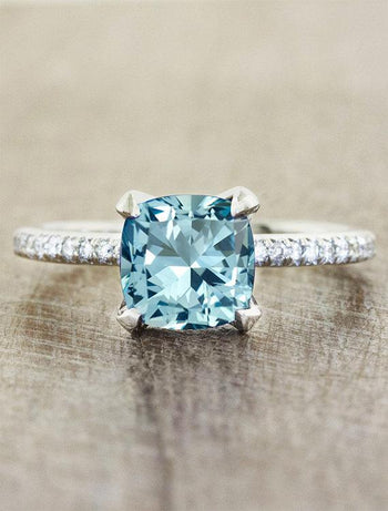 1.25 Carat Cushion Cut Aquamarine and Diamond Engagement Ring for her in White Gold