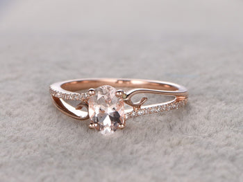 Lovely 1.25 Carat Oval Cut Morganite and Diamond Engagement Ring in Rose Gold