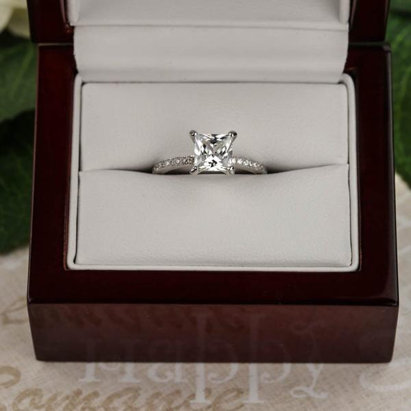 1.25 Carat Princess Cut Channel Eternity Engagement Ring in White Gold over Sterling Silver