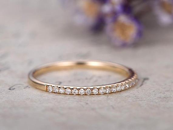 .50 Carat Round Cut Diamond Wedding Ring Band for Women in Yellow Gold