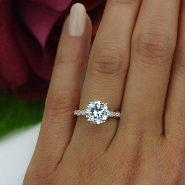 3.25 Carat Round Cut Wide Art Deco Solitaire Engagement Ring in White Gold over Sterling Silver