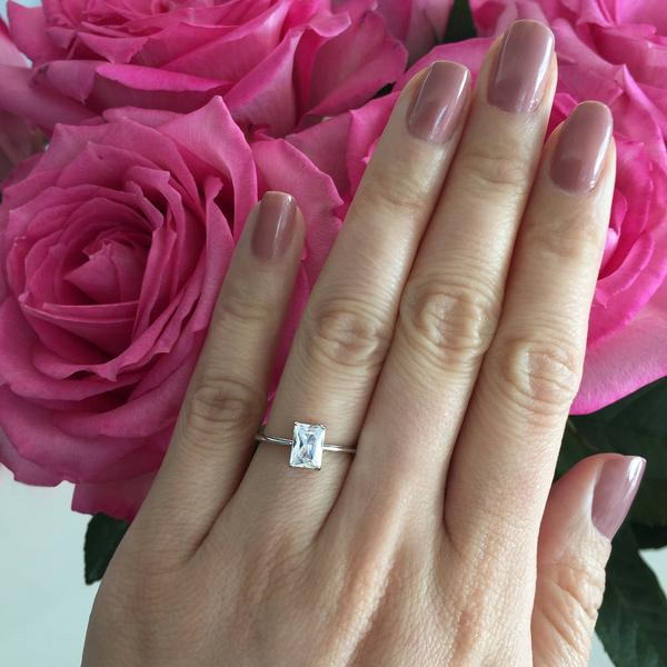 005fba463fee2 Final Sale: Radiant 1 Carat Emerald Cut Solitaire Engagement Ring in ...