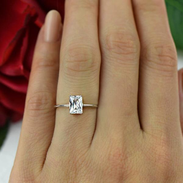 Final Sale Radiant 1 Carat Emerald Cut Solitaire Engagement Ring In W Kisnagems Co Uk