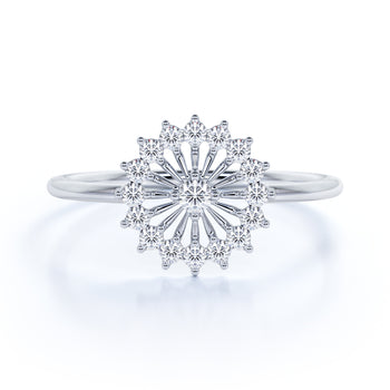 Delicate Dandelion Mini Stacking Ring with Round Shape Diamonds in White Gold