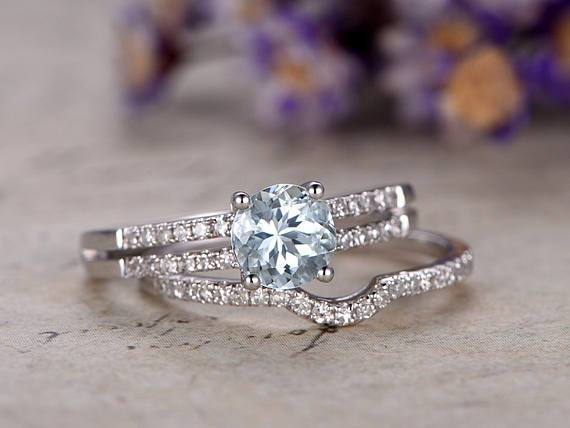Two Row 1.50 Carat Round Cut Aquamarine and Diamond Wedding Set in White Gold
