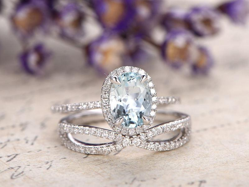 Perfect 2 Carat Oval Cut Aquamarine and Diamond Wedding Ring Set in White Gold