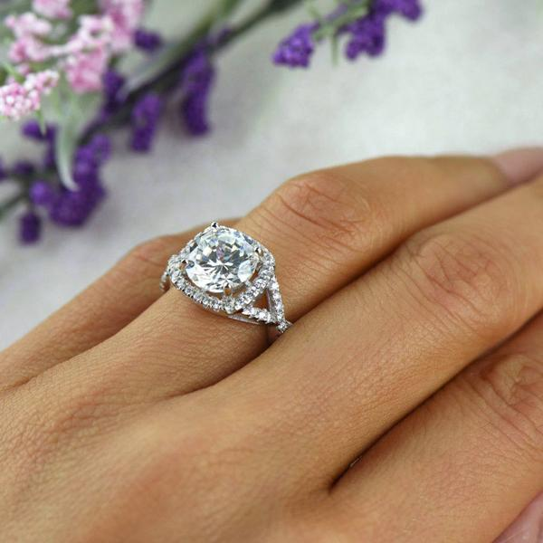 Final Sale: 3.25 Carat Round Cut Twisted Round Halo Engagement Ring in White Gold over Sterling Silver