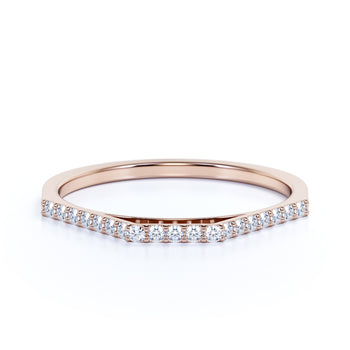 Minimalist Semi Eternity Stackable Wedding Ring  with Pavé Set Round Diamonds in Rose Gold