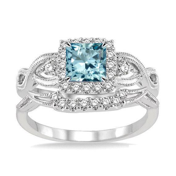 1.50 Carat Princess Cut Aquamarine and Diamond Bridal Ring Set for her in White Gold
