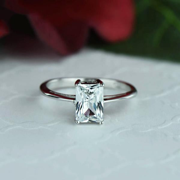 Final Sale: Radiant 1 Carat Solitaire Engagement Ring in White Gold over Sterling Silver