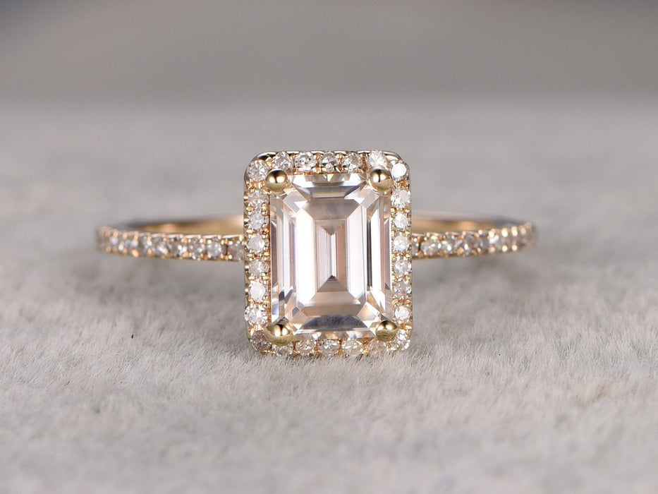 1.25 Carat Emerald Cut Moissanite and Diamond Wedding Ring in Yellow Gold