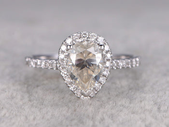 1.5 Carat Pear Cut Moissanite and Diamond Wedding Ring in White Gold