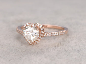 1.25 Carat Heart Shape Moissanite and Diamond Wedding Ring in Rose Gold