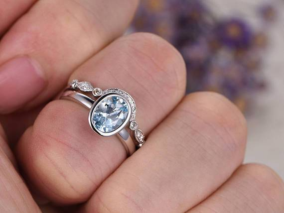 1.25 Carat Bezel Set Solitaire Aquamarine and Diamond Wedding Set in White Gold