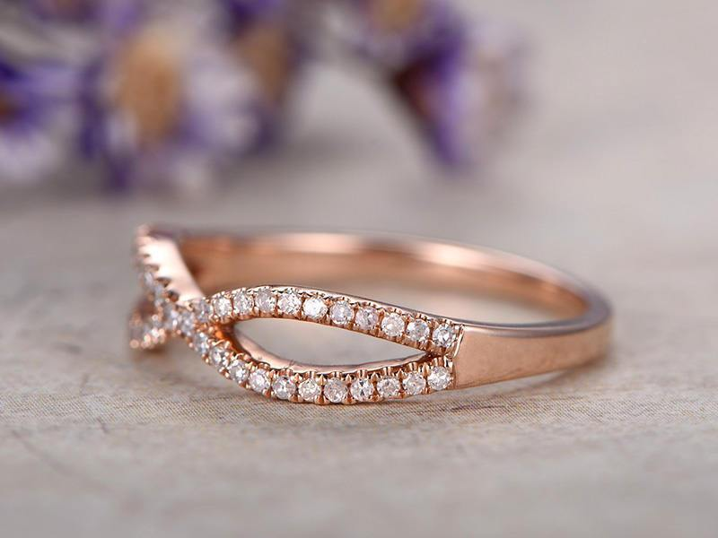 .50 Carat infinity Round Cut Diamond Wedding Ring Band in Rose Gold