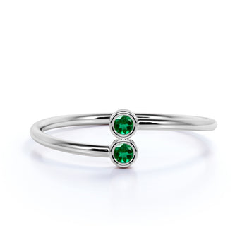 Slick Emerald Duo Mini Stacking Ring in Rose Gold
