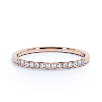 Classic Semi Eternity Stackable Wedding Ring with Round Diamonds in Rose Gold