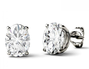 4 Prong 2 Carat Oval Cut Moissanite Solitaire Stud Earrings in White Gold