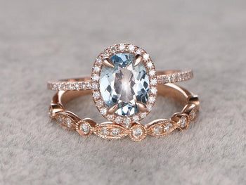 Bestselling 2 Carat Oval Cut Aquamarine and Diamond Wedding Ring Set with Art Deco Band in Rose Gold