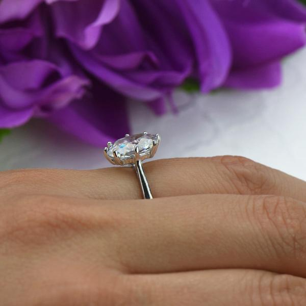 Final Sale 4 Carat Oval Cut Solitaire Engagement Ring in White Gold over Sterling Silver