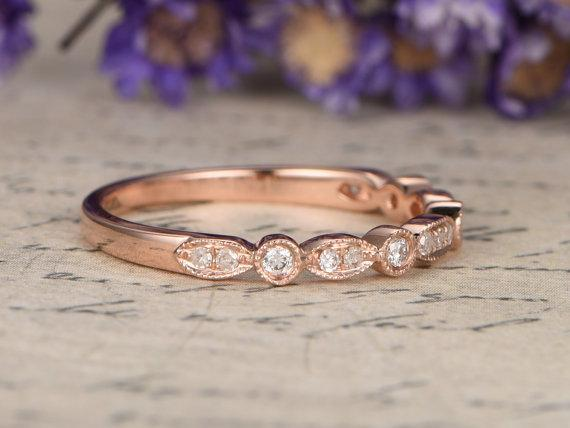 Bestselling .25 Carat artdeco Round cut Diamond Wedding Ring Band in Rose Gold
