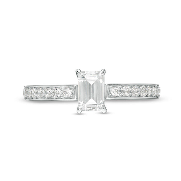 1/2 Carat Emerald Cut Diamond Engagement Ring in White Gold