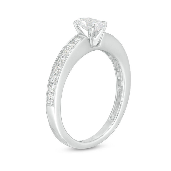 1/2 Carat Oval Cut Diamond Engagement Ring in White Gold