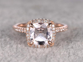 Antique Design 1.50 Carat Cushion Cut Morganite and Diamond Engagement Ring in Rose Gold