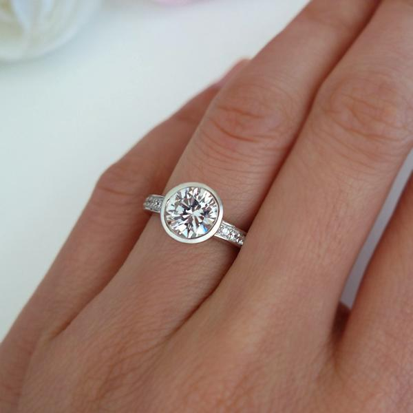 Final Sale: 1.5 Carat Round Cut Bezel Solitaire Engagement Ring in White Gold Over Sterling Silver