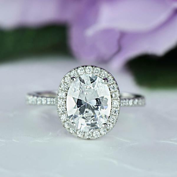 2.5 Carat Oval Cut Halo Engagement Ring in White Gold Over Sterling Silver