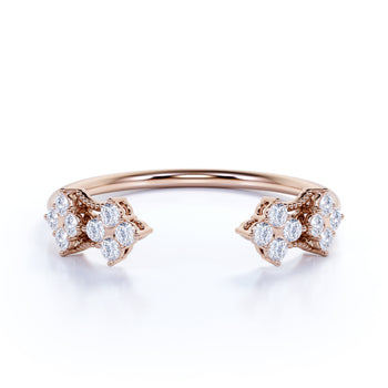 Elegant Open Stacking Wedding Ring Band with Round Diamonds in Rose Gold