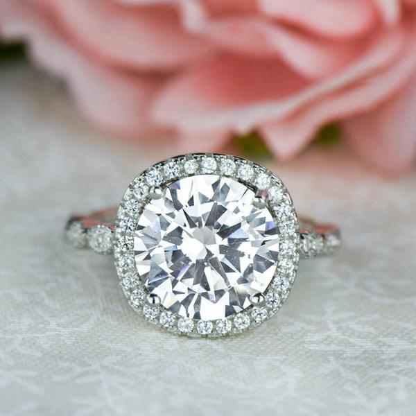 Final Sale: 4 Carat Round Cut Art Deco Halo Engagement Ring in White Gold Over Sterling Silver