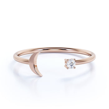 Moon and Star Stacking Mini Wedding Ring Band with a Brilliant Round Diamond in Rose Gold