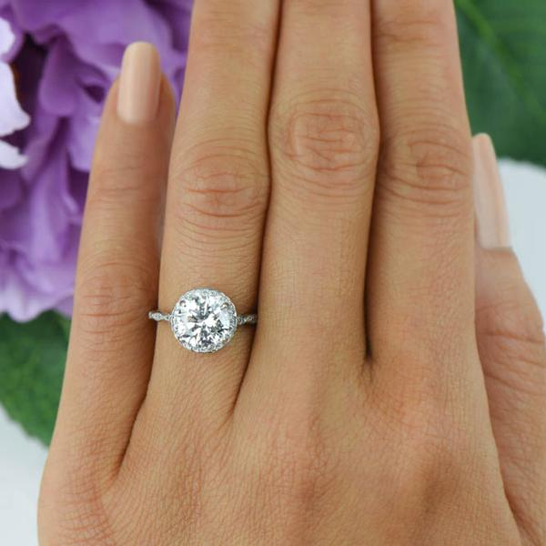 2.5 Carat Round Cut Scalloped Halo Engagement Ring in White Gold Over Sterling Silver