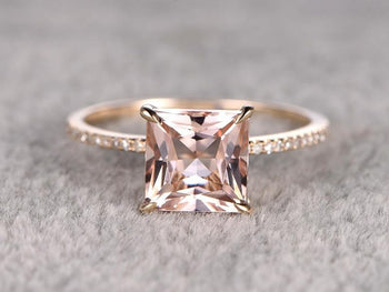 Perfect 1.25 Carat Princess Cut Morganite and Diamond Engagement Ring in Rose Gold