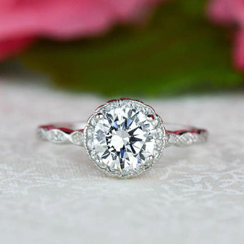 1.5 Carat Round Cut Scalloped Halo Engagement Ring in White Gold Over Sterling Silver