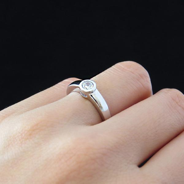 Final Sale 0.25 Carat Round Cut Modern Bezel Engagement Ring in White Gold over Sterling Silver