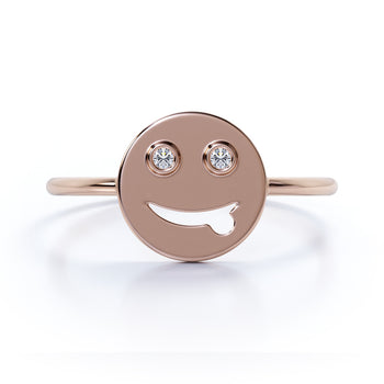 Emoji Design Stacking Ring with Round Shape Diamonds in Rose Gold