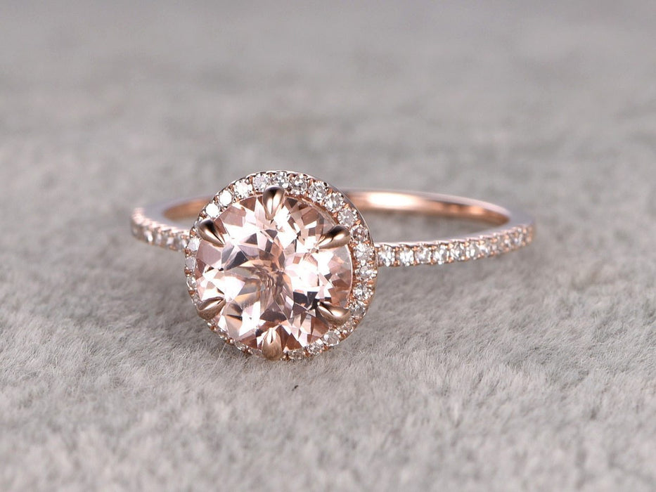 Bestselling 1.50 Carat Round Cut Morganite and Diamond Halo Engagement Ring in Rose Gold