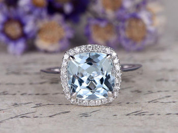 2.50 Carat Huge Cushion Cut Aquamarine and Diamond Halo Engagement Ring in White Gold