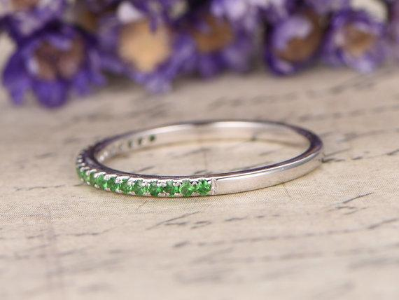 .25 Carat Round Cut Emerald Wedding Band in White Gold