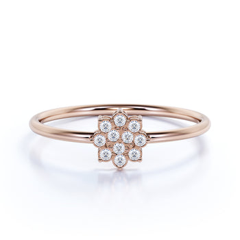Flower Shaped Mini Stacking Ring with Round Diamonds in Rose Gold