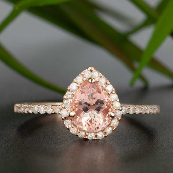 Vintage 1.25 Carat Pear Cut Peach Morganite and Diamond Engagement Ring in Rose Gold Affordable Ring