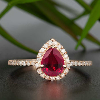 1.25 Carat Pear Cut Ruby and Diamond Engagement Ring in 9k Rose Gold for Modern Brides