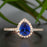 1.25 Carat Pear Cut Sapphire and Diamond Engagement Ring in Rose Gold for Modern Brides