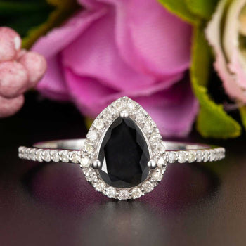 1.25 Carat Pear Cut Black Diamond and Diamond Engagement Ring in White Gold for Modern Brides