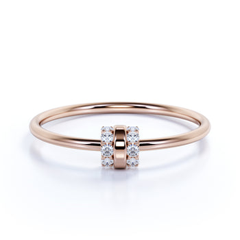 Minimalist Stacking Ring with Round Shape Diamonds in Rose Gold